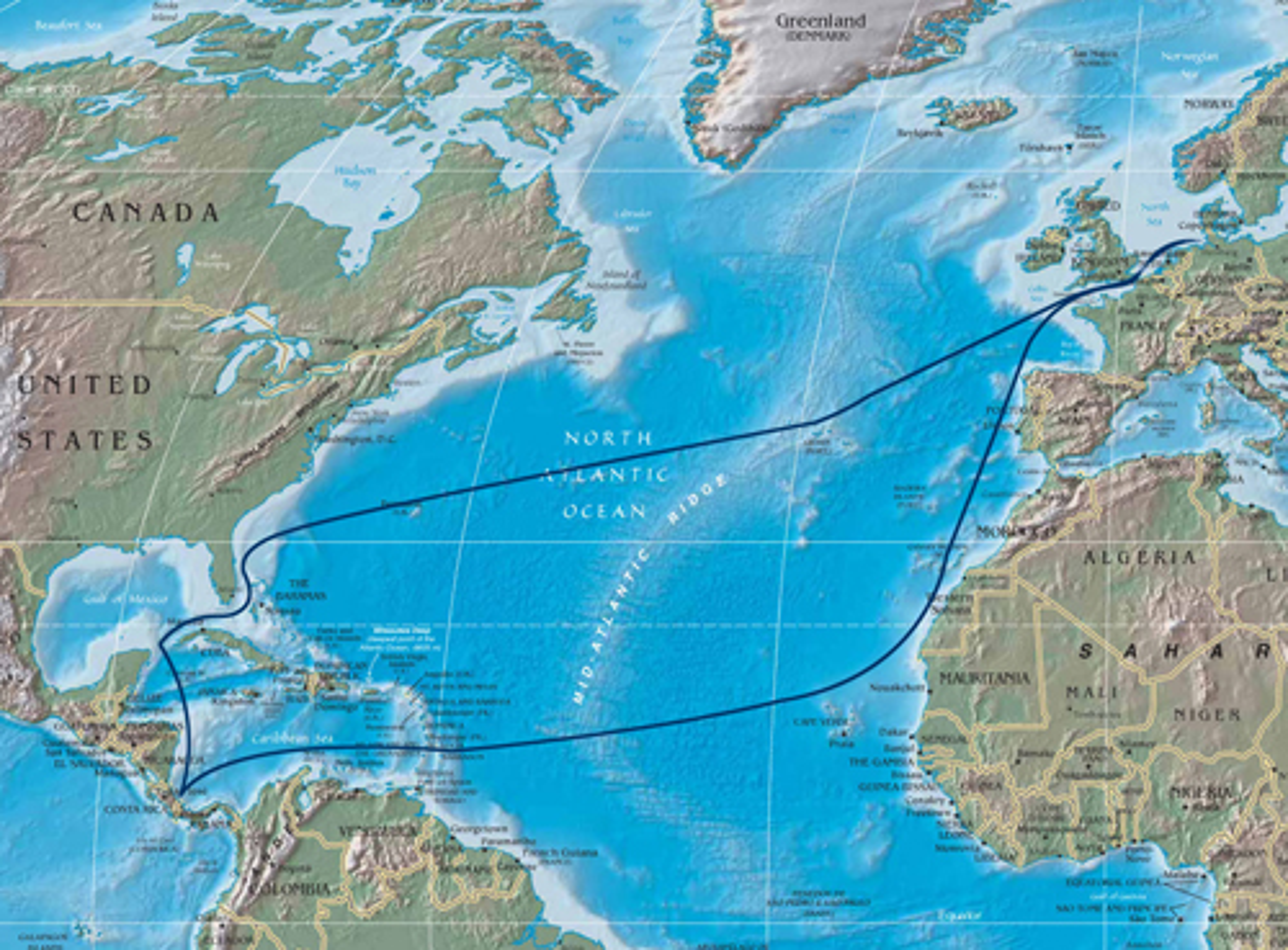 Karte mit markierter Reiseroute